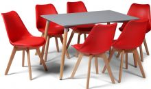 Toulouse Dining Set  - 120x80cms Grey Table & 6 Red Chairs